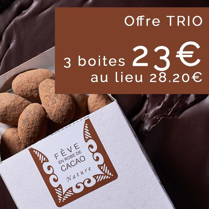 Trio de Fèves en Robe de Cacao